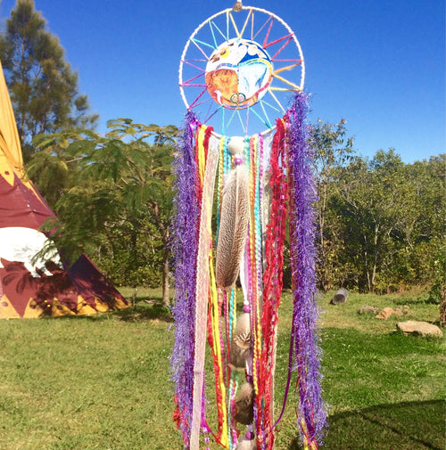 Rainbow Serpent, SpiritArt Mandala, Dreamcatcher, Animal Totem, Spirit Guide, Unique Visionary Art, Dreamtime, Dream Catch