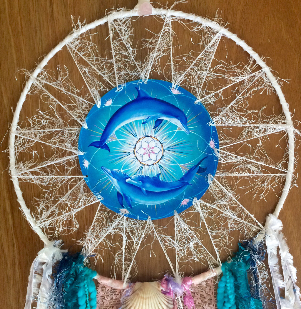Dolphin Bliss SpiritArt Mandala, Dreamcatcher, Totem Animal, Spirit Guide, Unique Visionary Art, Dream Catcher, Soulful Home Decor, Gift.