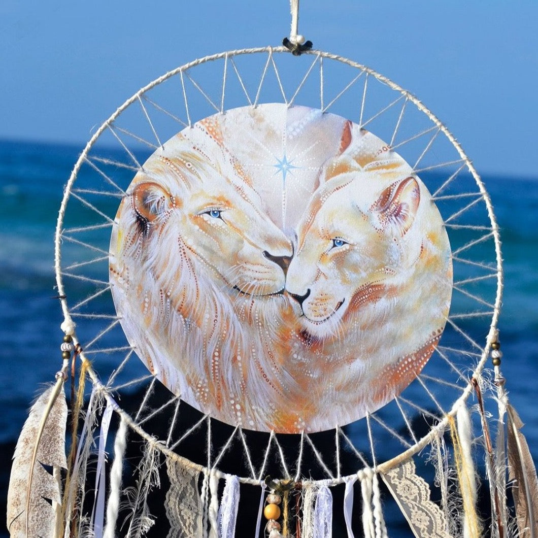 White Lions SpiritArt Mandala, Dreamcatcher, Animal Totem, Spirit Guide, Unique Visionary Art, Dreamtime, Dream Catchers, Soulful Home Decor