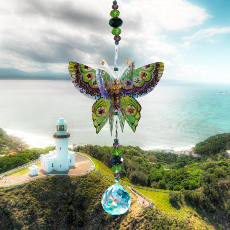 Green Magic hand made butterfly crystal suncatcher by Kylee Joy