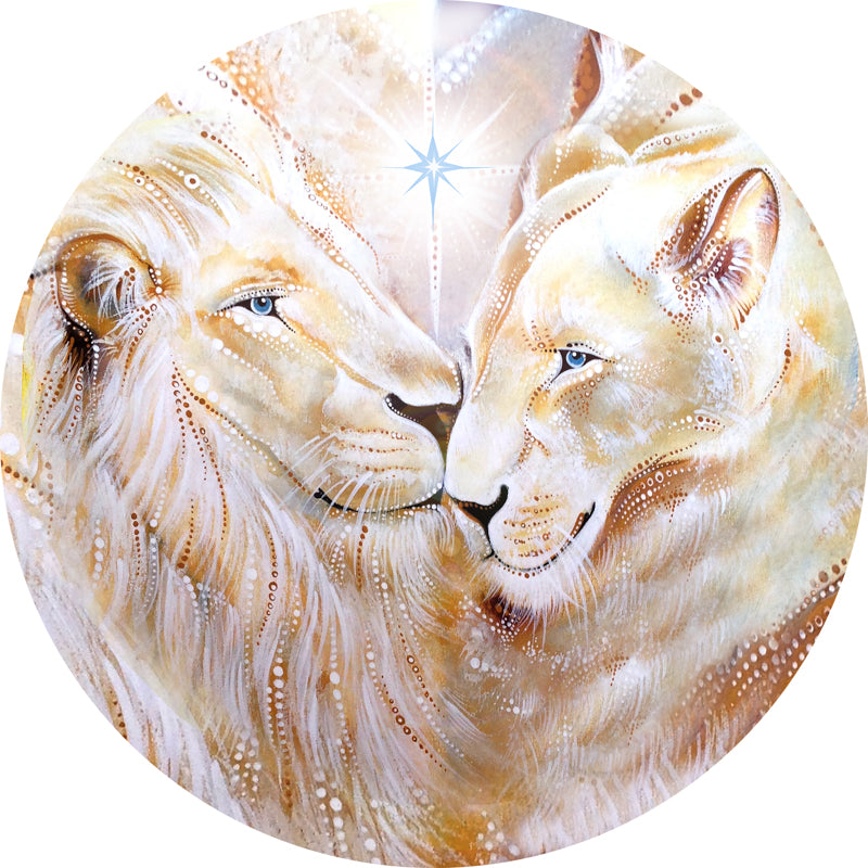 Original artwork by Kylee Joy depicting two white lions with the star Sirius overhead