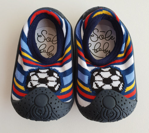 sole baby shoes soccer ball front