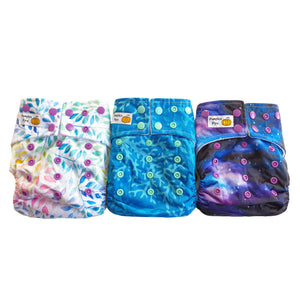 trial pack of 3 bamboo cloth nappies
