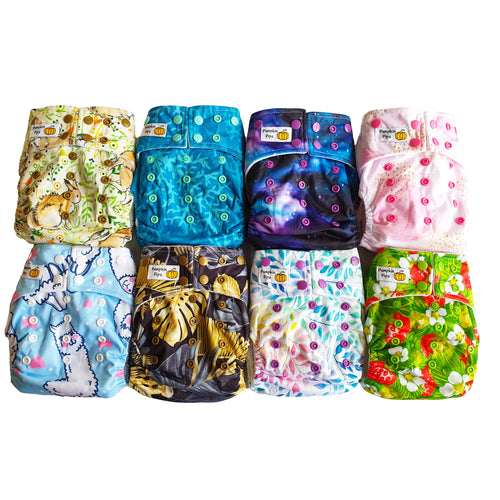 pack of 8 bamboo cloth nappies