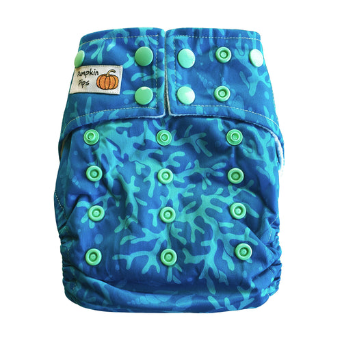 coral blues bamboo cloth nappy