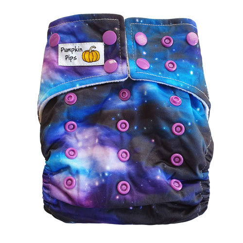 black and purple galaxy cloth nappy