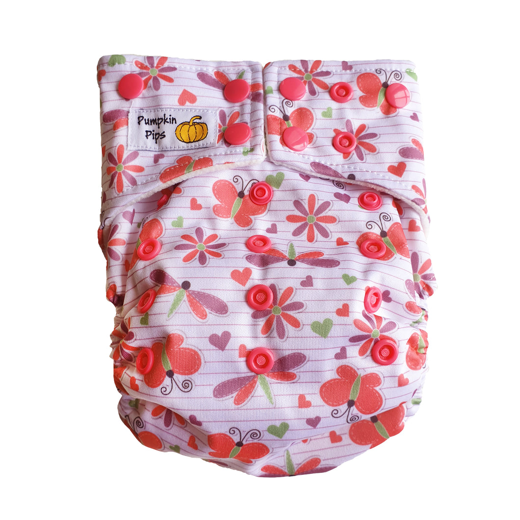 pastel pink and mauve butterflies girls cloth nappy