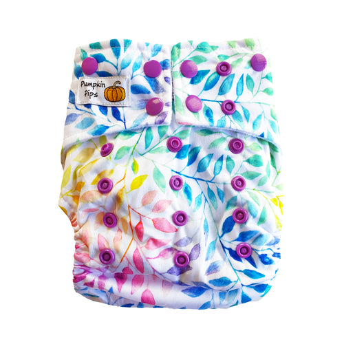 rainbow leaves botanicals cloth nappy