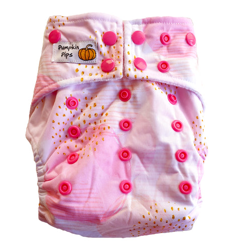 pumpkin pips rosie joy pink cloth nappy