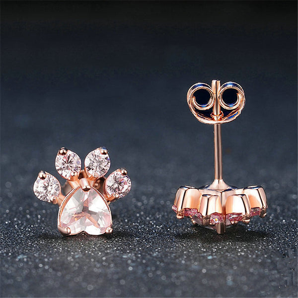 Rose Gold Paw Earrings