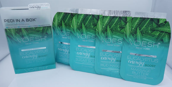 Voesh Pedi In A Box- Deluxe 4 step System- Eucalyptus Energy Boost