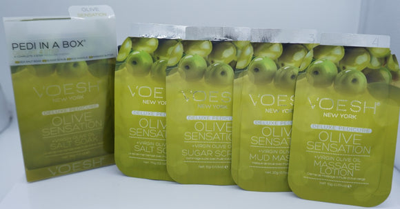 Voesh Pedi In A Box- Deluxe 4 step System- Olive Sensation