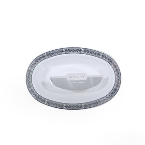 10 pieces Oval Bowl - White/Silver
