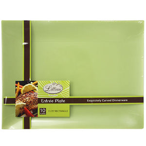 "Lillian Rectangles Green 11.75"" Plate"