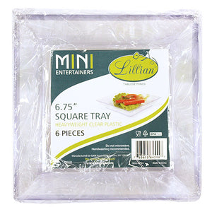 "Mini Clear 6.75"" Square Tray"