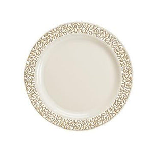 "Lace Ivory / Gold 7.5"" Plate"