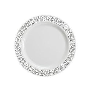 "Lace White / Silver 7.5"" Plate"