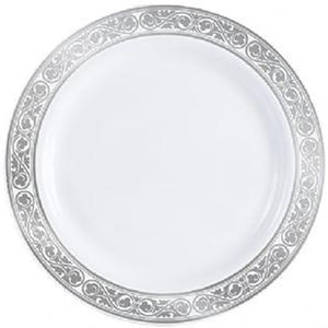 "Royalty White / Silver 10.25"" Plate"