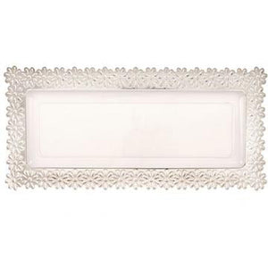 Clear / Silver Large Flower Tray