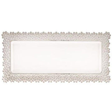 White /Silver Large Flower Tray
