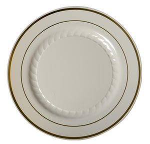 "Silver Splendor Bone / Gold 10"" Plate"