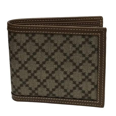 Gucci Men's Diamante Bi-fold Beige/Ebony Canvas Wallet 225826