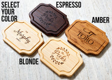 Color option examples for custom charcuterie boards: Espresso, Amber, and Blonde