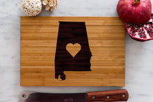 Engraved Alabama State Cutting Board with center heart