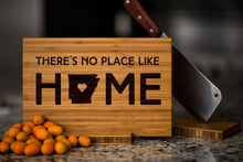 "Engraved Alabama State Cutting Board with ""There's No Place Like Home"" engraving"