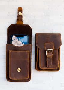 The St Pete Leather Phone Holder and Wallet