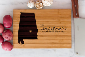 Engraved Alabama State Cutting Board with personalized name engraving