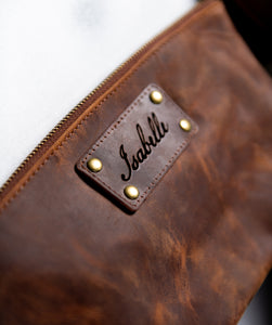 Personalized Distressed Leather Toiletry Bag for Women The Alafia by Left Coast Original