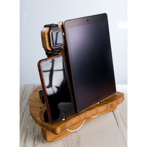 Sailing Charging Dock for Apple Watch iPad and iPhone Gift Him Her Organized Dad Boyfriend