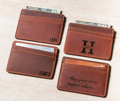 The Boca Personalized Leather Slim Wallet