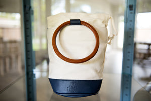 Bucket Bag - Canvas Shoulder Tote with Wooden Handles