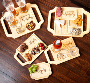 A variety of Blonde-finished custom charcuterie boards and wine boards