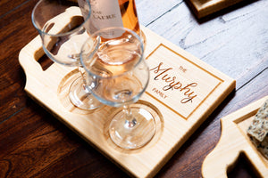 A custom wine board with one handle and engraving