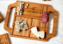 Custom charcuterie board with two handles