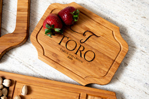 Custom charcuterie board with large center engraving