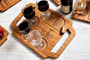 Custom engraved wine board with handles and Amber finish