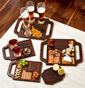A variety of custom charcuterie boards and wine boards in Espresso finish