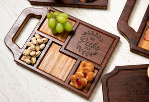 A custom charcuterie board with a variety of snacks