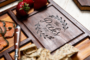 Close-up on the engraving of a custom charcuterie board