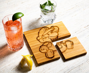 Gamer Inspired Coasters with Optional Coaster Holder by Left Coast Original