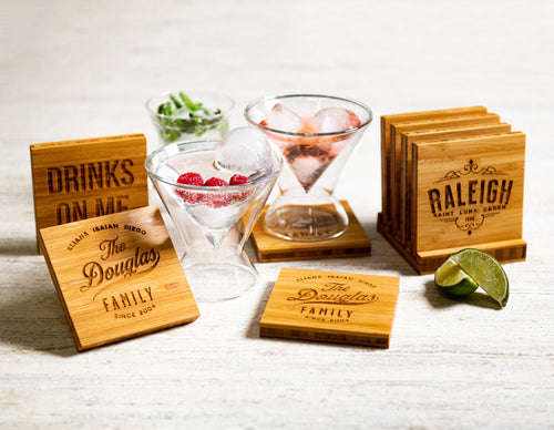 Personalized Family Name Coasters with Optional Coaster Holder by Left Coast Original