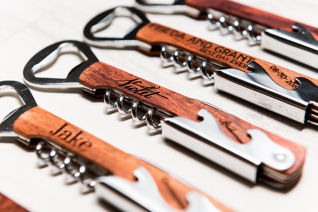 Personalized Corkscrew Wine Beer Bottle Opener Bridesmaid Gift