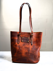 Personalized Distressed Leather Tote The Destin by Left Coast Original