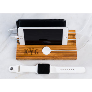Personalized Double Slot Apple Watch iPhone Charging Dock