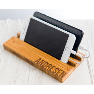 Double Slot Personalized Phone Charging Dock Mom Dad Boyfriend Girlfriend Wedding Anniversary