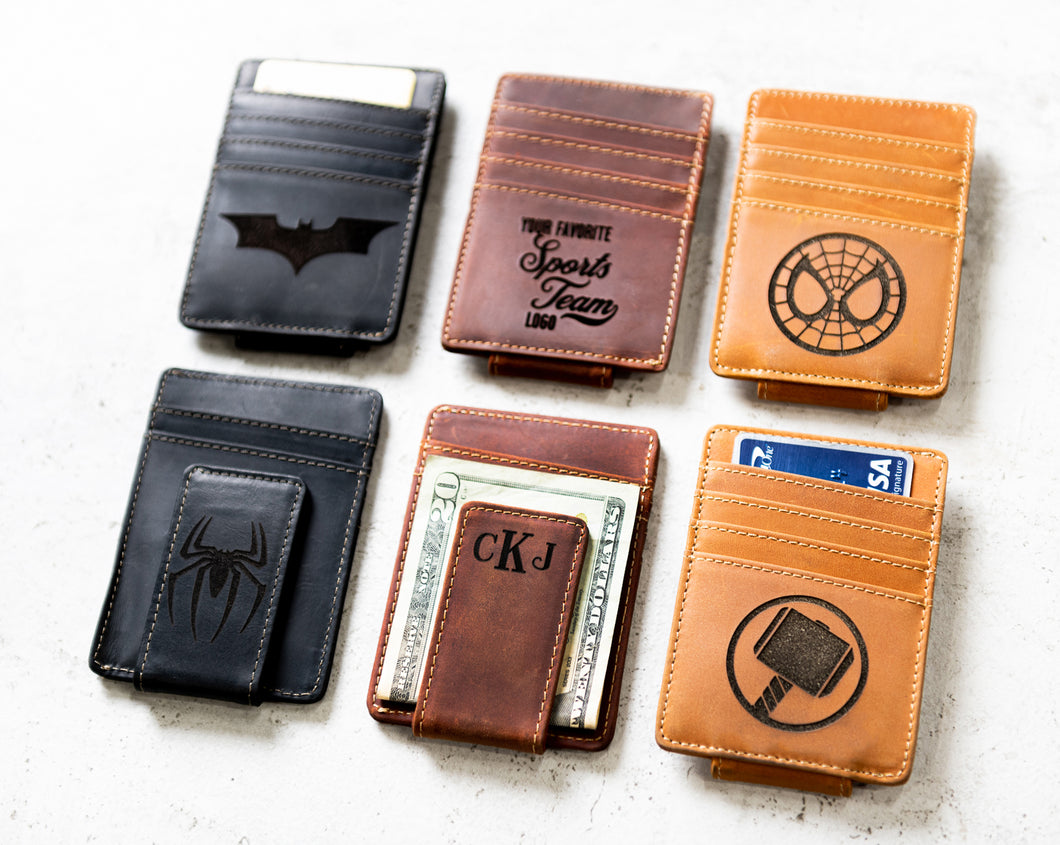 Hero Inspired Personalized Leather Magnetic Money Clip by Left Coast Original